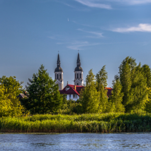 Augustów latem, Jezioro Necko Augustów, Augustów Kościół