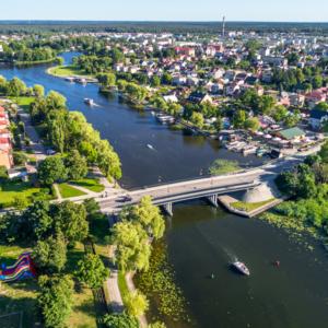 Most nad Neckiem, Augustów latem, Fotografia Podlasia, Jezioro Białe w Augustowie
