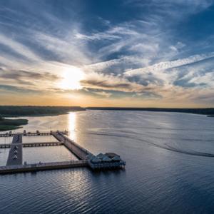 Jezioro Necko zachód słońca, Augustów aktywnie latem
