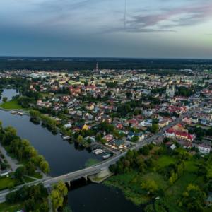 most w Augustowie, Jezioro Necko latem i jezioro Białe latem