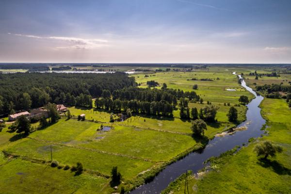 rzeka Ełk w Boguszach, Bogusze obok Grajewa z lotu ptaka, Maciej Nowakowski